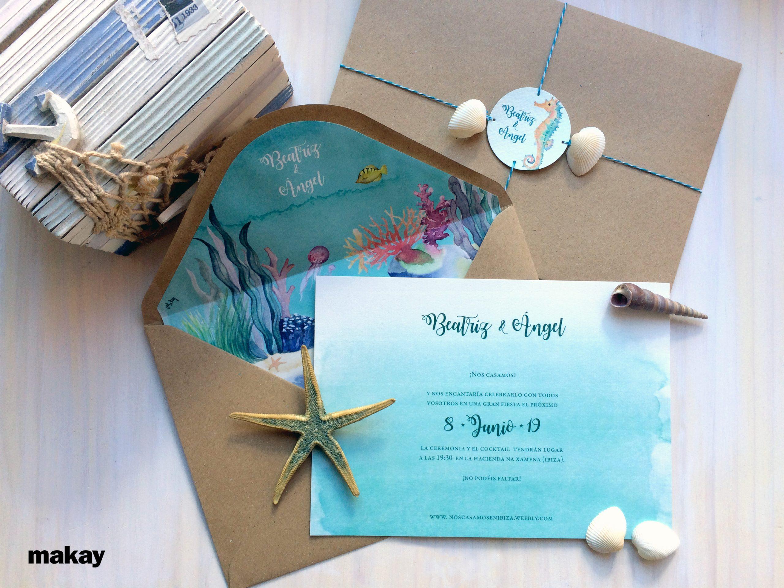 El fondo marino en una invitación